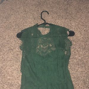 Green Free People Lace Slip
